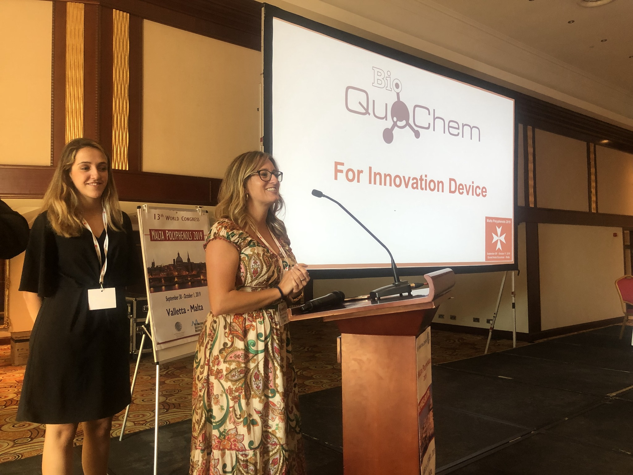 An Industrial Innovation Award delivered to Bioquochem during Malta Polyphenols 2019